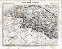 Pyrénées Basses 1862 carte chemin de fer orig. Pau Bayonne Cambo Orthez St-Jean