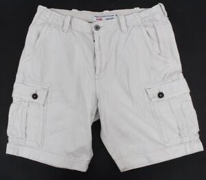 mens stone beige AMERICAN EAGLE cargo shorts classic distressed 38 x 10.5