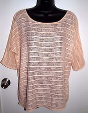 H&M Womens Size XS Oversized Pink Loose Knit Over Top Sheer Raglan Sleeve