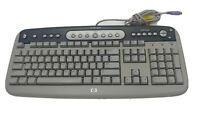 Genuine HP (SK-2560) Gray PS/2 Wired Internet Computer Keyboard - P/N: 5185-1596
