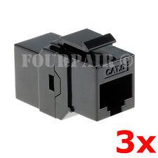 3 Pack - CAT6 Inline Coupler Keystone RJ45 Female Snap-In Jack Insert - Black