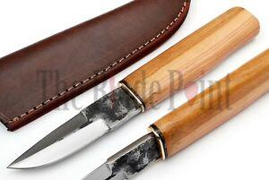 Custom Handmade High Carbon Steel Puukko Knife Bushcraft Hunting Knife Sheath