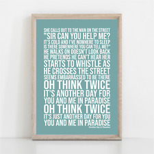 More details for phil collins another day in paradise lyrics poster print wall art