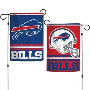 "BUFFALO BILLS 2 SIDED 12""x18"" GARDEN FLAG NEW & OFFICIALLY LICENSED"