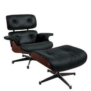 Rosewood Eams Lounge Chair and Footstool Ottoman Real Leather Armchair Recliner