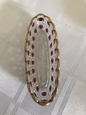 More details for antique baccarat crystal pin dish. clear, ruby and gilt.