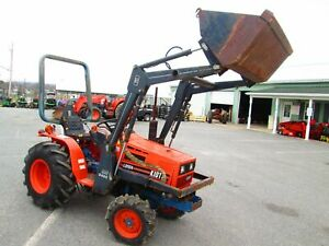 94 Kioti LB1914 loader tractor 4x4 diesel used compact good AG tires 3 pt hitch