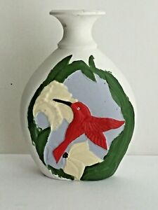 """Oval White Vase Flared Opening Multi Colored Hummingbird  Flowers Leaves 8 1/4"""""""