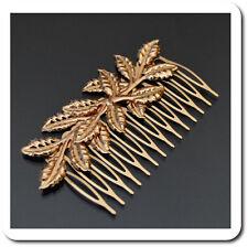 XL Haarspange Haarkamm Haarschmuck Hochzeit Metall Vergoldet Blatt Braut Combs