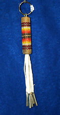 Beaded Keyring Native American Peyote Beadwork Leather Tassles Tin Cones  PSK04