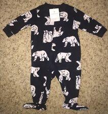 CARTER'S Boys FLEECE Pajamas FOOTIE Footed WINTER New NWT 6 Mo BLACK Polar BEAR
