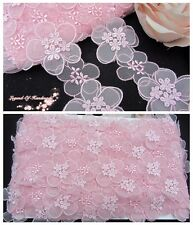 "2""*1Y Embroidered Tulle Lace Trim~3D Raised~Light Pink~Romantic Fairy~UNIQUE~"