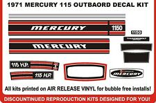 1971 MERCURY 115 HP 1150  OUTBOARD DECAL SET , REPRODUCTIONS  135 1350 available