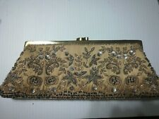 Floral Beaded Evening Clutch Purse new snap closure Santi