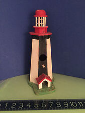 New listing Lighthouse bird house painted wood great details home decor See