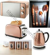 Copper Microwave,Diamond Kettle,2 Slice Toaster 16pcCutlerySet & 3 Canisters SET