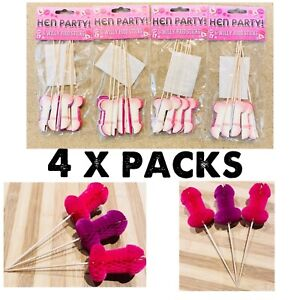 24 x Willy Honeycomb Picks Hen Party Cake Food Buffet Party Decorations 16cm