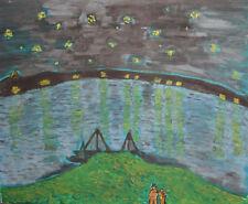 Fauvist river landscape oil painting
