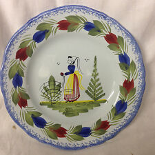 HENRIOT QUIMPER FRANCE CAMPAGNE BREAD & BUTTER PLATE WOMAN FLOWERS SPONGED BLUE