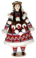 Porcelain art doll Itelmen women's folk costume Kamchatka Russia. Handmade