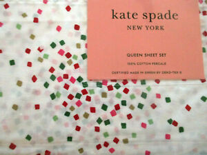 Kate Spade Queen Sheet Set 4 Pc Holiday Christmas Confetti Red Green Pink Gold