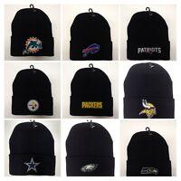 READ LISTING! NFL *Flat* Logo Heat Applied on Beanie Knit cap hat. PICK TEAM.