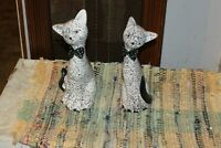Two Hand Painted Ceramic Blue Speckled Cat Figurines  With Blue Cloth Bow Ties