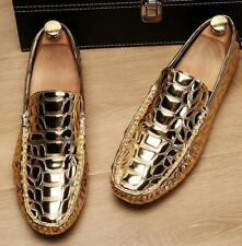 Mens Pumps Shiny Leather Loafers Slip On Alligator Pattern Gommino Casual Shoes