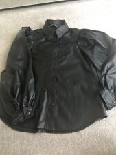 Zara Black Faux Leather Buttoned Shirt With * Size S *