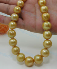 """18"""" Gorgeous AAA+ 15mm real natural south sea golden pearl necklace 14k clasp"""
