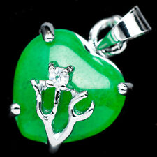 Chinese Emerald Green Jade Jadeite 18K White Gold Plated Heart Pendant #006