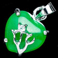 Chinese Emerald Green Jade Jadeite 18K White Gold Plated Heart Pendant #006