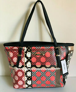 NEW! NINE WEST IT GIRL BLACK PRINTED MEDIUM SHOPPER TOTE BAG PURSE $79 SALE