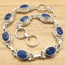 "Sapphire 8 Gemstone Art Bracelet 8"" 925 Silver Overlay Beautiful Blue Simulated"