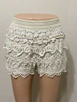 NWT Size Medium Francesca Miami Ivory Crochet shorts Retail $38