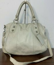 Linea Pelle ivory Cream Faux Croco Leather Large Shoulder Tote Purse Bag