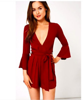 NEW LOOK LADIES BURGUNDY PLUNGE NECK FLUTE SLEEVE BELTED PLAYSUIT UK 12