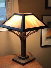 Antique Mission Oak Wood Slag Glass Panel Table Lamp Arts U0026 Crafts Era