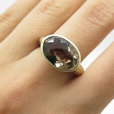 925 Sterling Silver Real Smoky Topaz Gemstone Ring Size 7