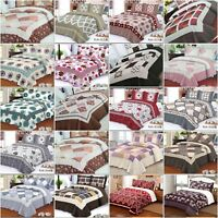 Quilted Bedspread, Reversible Bedspread With 2 Matching Pillow Shams Cotton
