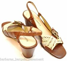 ELLEN TRACY JOURNEY LEATHER SANDALS BRAIDED rope HEELS SLINGBACKs SHOES SZ 7.5 M