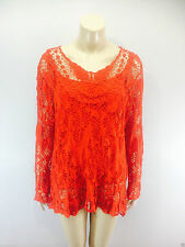 Ladies 2 in 1 Italian Long Sleeve Crochet Top Tunic Lace Mesh One Size Plus Red