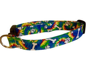 SPIFFY POOCHES Dog Collar TIE DYE PAWS BONES ~B.O.G.O @ 50% OFF C DESCRIPTION~