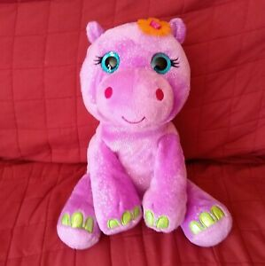 First & Main HAILEY Hippo FantaZOO 11in Purple Smooth Plush Glitter Eyes Flower