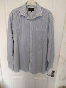 PREOWNED LOVELY MENS MARKS AND SPENCER TAILORED DRESS SHIRT STRIPED COLLAR 16.5