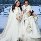 Christmas Winter Bridal Wedding Cloak Cape Hooded Faux Fur Cape Long Mantles