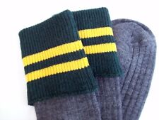 Adult size grey school socks grey with Green top & 2 Gold Bars shoe size 7-11