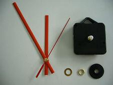 QUARTZ CLOCK MECHANISM SHORT SPINDLE 130mm RED HANDS