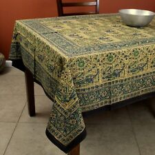Elephant Batik Block Print Tablecloth Rectangular Cotton 60 x 90 inches Green