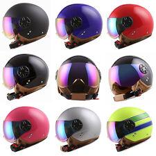 Motorcycle Scooter Bike Open Face Helmet Black Blue Green Orange Pink Silver YLW